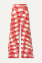 Area Crystal-embellished Houndstooth Wool-blend Wide-leg Pants - Red