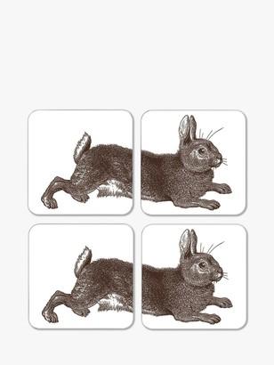 Thornback & Peel Cork-Backed Classic Rabbit & Cabbage Coasters, Set of 4, Brown/Multi