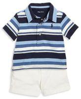Ralph Lauren Baby's Three-Piece Striped Polo, Shorts & Belt Set