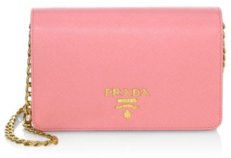 Prada Metallic Saffiano Leather Chain Wallet