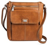 Bolo Women's Faux Leather Crossbody Handbag with Front/Back/Interior Compartments and Zipper Closure - Light Brown