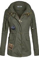BodiLove Women's Plus Size Plaid Hooded Drawstring Waist Utility Jacket (J7057 )