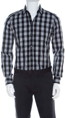 Dolce & Gabbana Black and White Checkered Button Front Shirt S