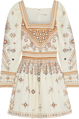 Ulla Johnson Adilah Embellished Cotton And Linen-blend Twill Mini Dress