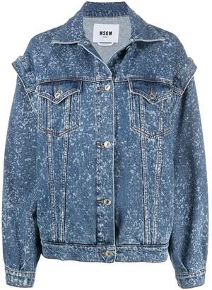 MSGM Paint-Splatter Print Denim Jacket