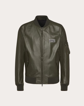 Valentino Vltn Tag Leather Bomber Man Olive Green Polyester 100% 46