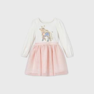 Cat & Jack Toddler Girls' Unicorn Sparkle Tulle Long Sleeve Dress - Cat & JackTM