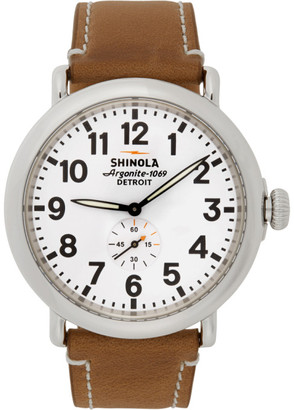 Shinola Silver and White The Runwell 47mm Watch