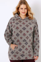 Yours Clothing Grey & Pink Floral Lace Print Hooded Sweat Top