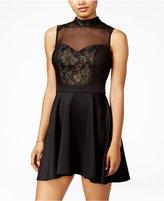 B. Darlin Juniors' Metallic Lace Illusion Dress