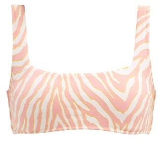 Heidi Klein Zebra Stretch-jacquard Bikini Top - Pink Print