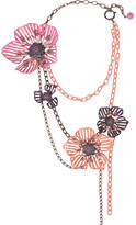 Lanvin Crystal and enamel floral necklace
