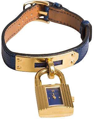 One Kings Lane Vintage Hermes Kelly Blue Lizard & Gold Watch - Vintage Lux