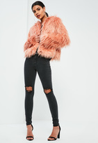 Missguided Black Anarchy Authentic Busted Knee Skinny Jeans