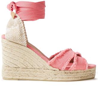 Castaner Frayed Cotton-canvas Wedge Espadrille Sandals