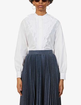 See by Chloe High-neck cotton-poplin shirt