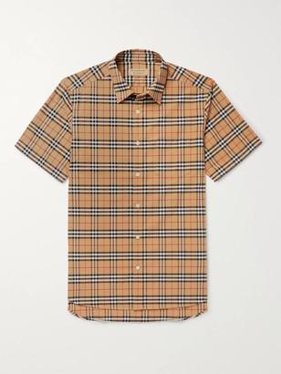 Burberry Checked Stretch-Cotton Poplin Shirt