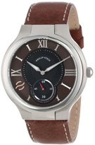 Philip Stein Teslar Men's 42-BRN-CSTDBR Round Brown Dial Dark Brown Stitched Calf Strap Watch