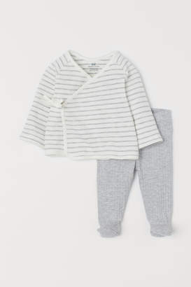 H&M Wrapover Top and Pants - Gray