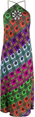 Rixo Opal floral check dress