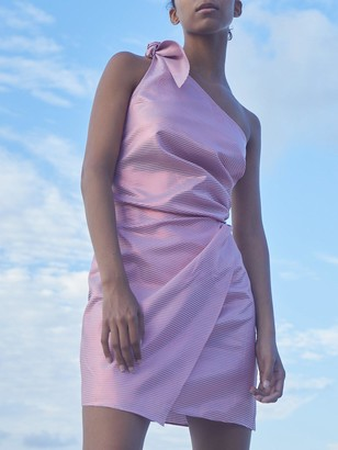 Paper London Naxos One Shoulder Metallic Mini Dress - Purple