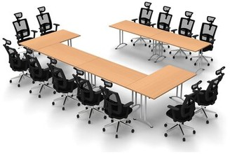 Symple Stuff Turrell Rectangular Conference Table Set Finish: Beech