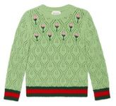 Gucci Little Girl's & Girl's Flower Buds Embroidered Sweater