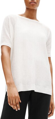 Eileen Fisher Bateau Neck Elbow Sleeve Sweater