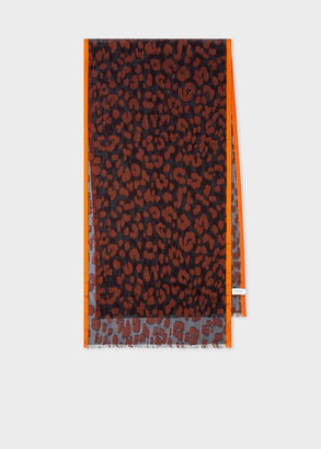 Paul Smith Burnt Orange 'Leopard' Silk-Blend Scarf