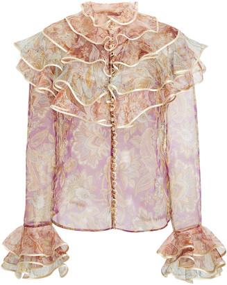 Zimmermann Lucky Tiered Silk Blouse