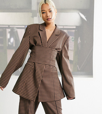 Collusion fitted blazer with corset waist detail in brown gingham