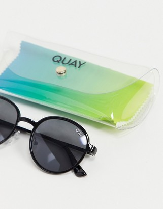 Quay I See You Clip On unisex round sunglasses in black
