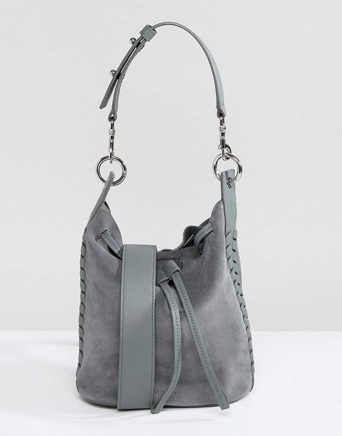 AllSaints Suede Whipstitch Bucket Bag