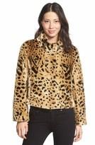 Kristen Blake Women's Faux Leopard Fur Shorty Jacket