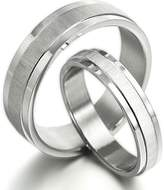 Gemini Groom & Bride Matching Couple Titanium Wedding Engagement Bands Rings Set 6mm & 4mm Width Men Ring Size : 14.5 Women Ring Size : 4.25 Valentine's Day Gifts