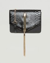 Lipsy Patent Cross Body Bag with Tassel