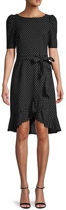 Calvin Klein Polka Dot High-Low Ruffled Dress