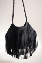 Suede Fringe Bag in Black
