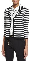 St. John Striped Milano Knit 3/4-Sleeve Jacket