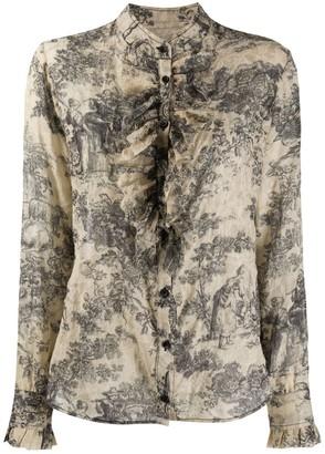 UMA WANG Floral Print Ruffled Shirt