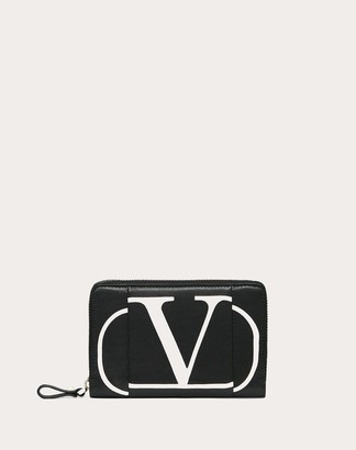 Valentino Vlogo Inlay Zippered Wallet Women Black Calfskin 100% OneSize