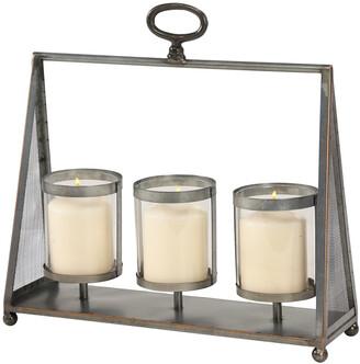 Uma Enterprises Silver Metal & Glass Hanging Candle Holder