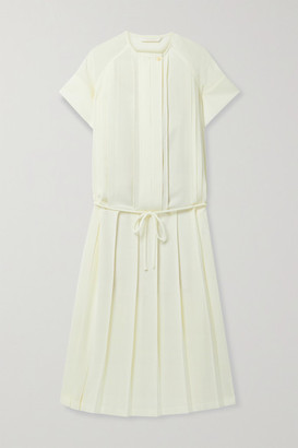 Low Classic Belted Pleated Voile Midi Dress - Pastel yellow