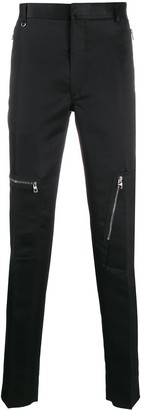 Alexander McQueen Zip Details Slim-Fit Trousers