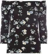 Dorothy Perkins Black Ditsy Print Bardot Top