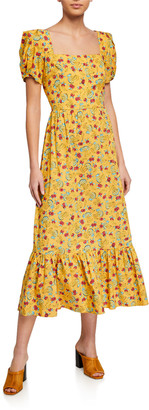 HVN Ruffled Square-Neck Cotton Gown