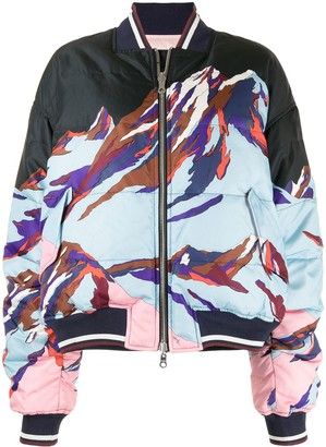 Emilio Pucci Pre-Owned Abstract-Print Reversible Bomber Jacket