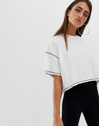 Asos Design DESIGN oversized cropped t-shirt with stepped hem and contrast stitch-White
