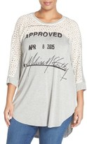 Melissa McCarthy Graphic Jersey & Lace Top (Plus Size)
