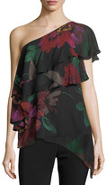 Trina Turk Dancer One-Shoulder Floral-Print Silk Top